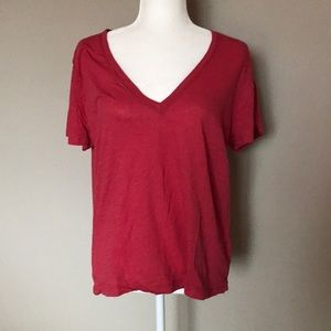 Madewell Red V Neck T Shirt Size Large